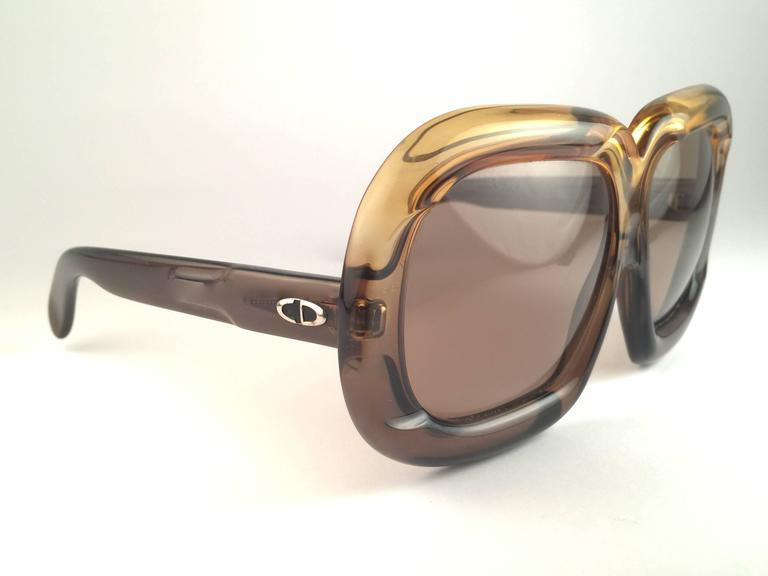 New Vintage Christian Dior D10 HUGE Two Tone Green Optyl Sunglasses 2