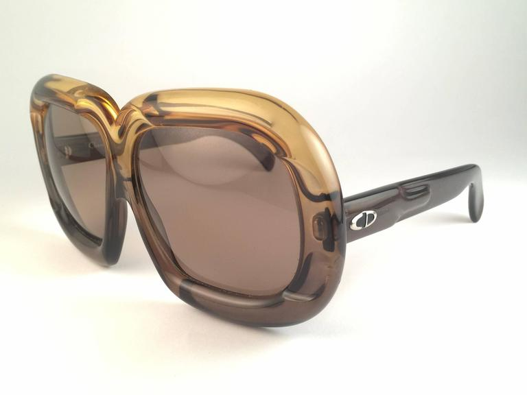 New Vintage Christian Dior D10 HUGE Two Tone Green Optyl Sunglasses 3