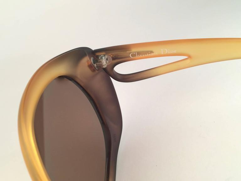 Women's New Vintage Christian Dior 2005 Matte Ombre Amber Oversized Optyl Sunglasses For Sale