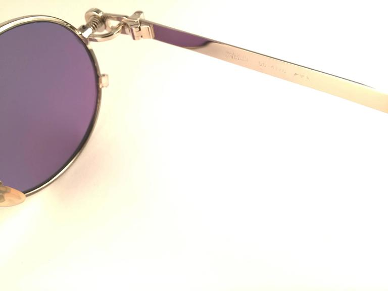 New Jean Paul Gaultier 56 4178 Round Silver Dark Purple Sunglasses 1990's Japan In New never worn Condition For Sale In Amsterdam, NL