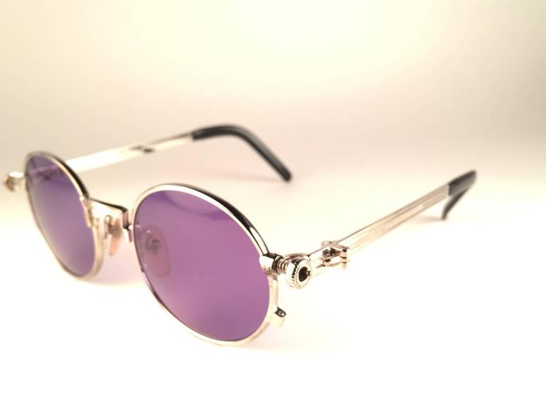 Gray New Jean Paul Gaultier 56 4178 Round Silver Dark Purple Sunglasses 1990's Japan For Sale