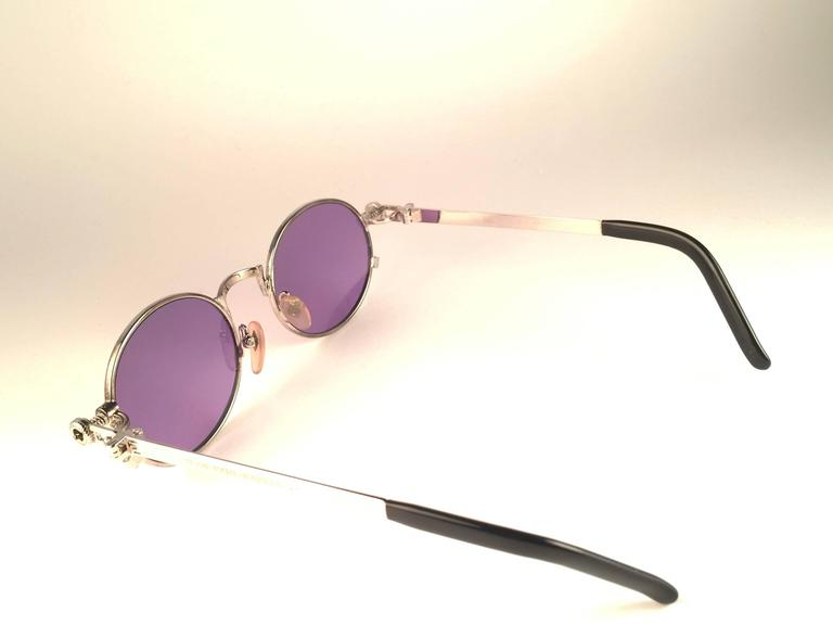 New Jean Paul Gaultier 56 4178 Round Silver Dark Purple Sunglasses 1990's Japan For Sale 1