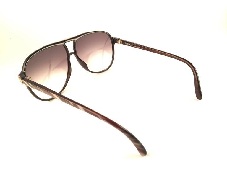 New Vintage Christian Dior Monsieur 2300 90 Zebra Optyl 1970 Sunglasses For Sale 1