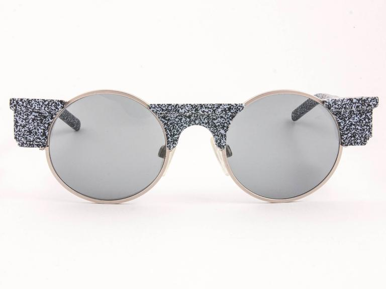 New Vintage Karl Lagerfeld Round Grey Marble 80's Made In Germany Sunglasses 2