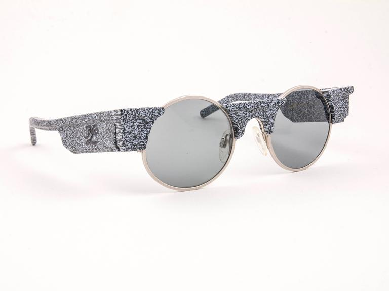New Vintage Karl Lagerfeld Round Grey Marble 80's Made In Germany Sunglasses 3