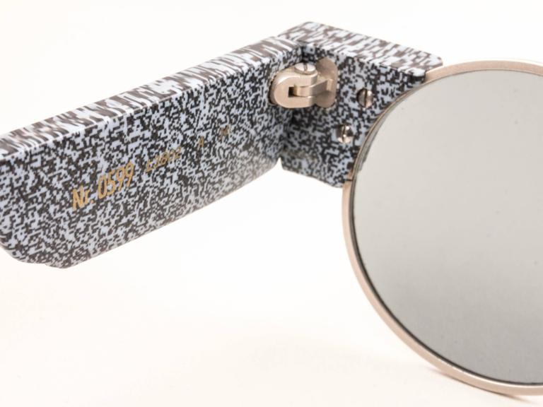 New Vintage Karl Lagerfeld Round Grey Marble 80's Made In Germany Sunglasses 5