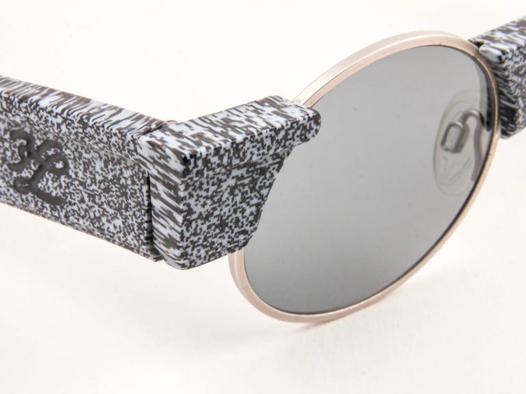 New Vintage Karl Lagerfeld Round Grey Marble 80's Made In Germany Sunglasses 6