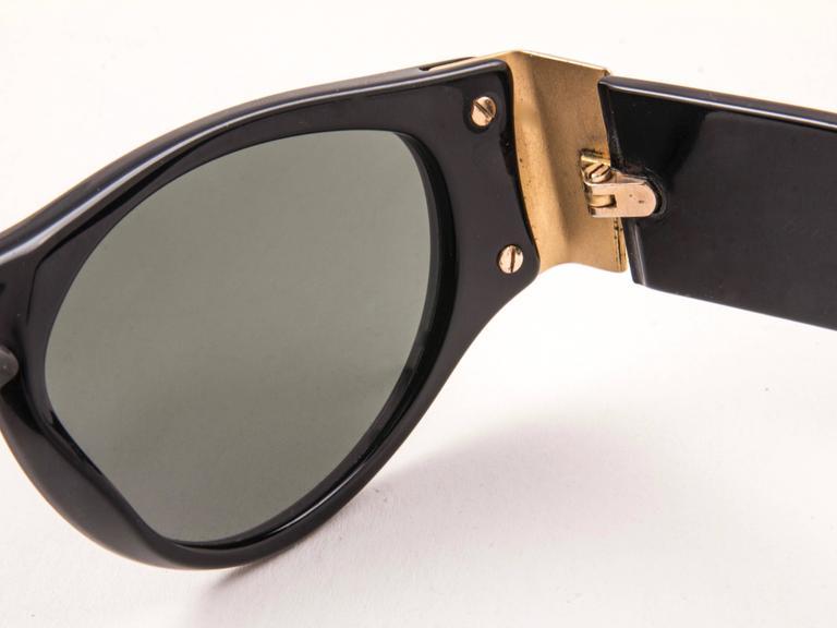 New Vintage Karl Lagerfeld L3606 Black Grey Lens 1990 Germany Sunglasses For Sale 1