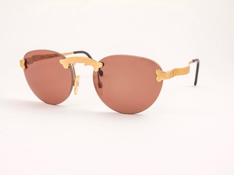 New Vintage Karl Lagerfeld Rimless Gold Amber  80's Germany Sunglasses In Excellent Condition For Sale In Amsterdam, Noord Holland