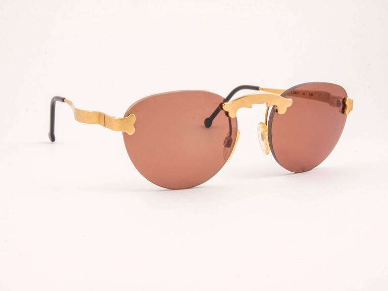 New Vintage Karl Lagerfeld Rimless Gold Amber  80's Germany Sunglasses 2
