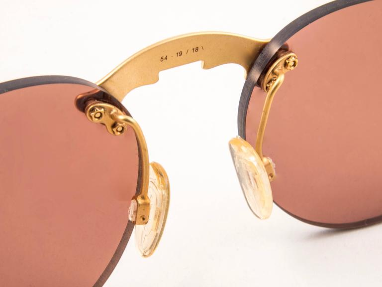 New Vintage Karl Lagerfeld Rimless Gold Amber  80's Germany Sunglasses 4