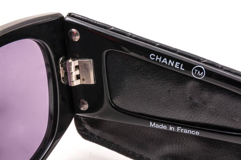 New Vintage Chanel Black Quilted Sides 1988 Sunglasses Made In France 5