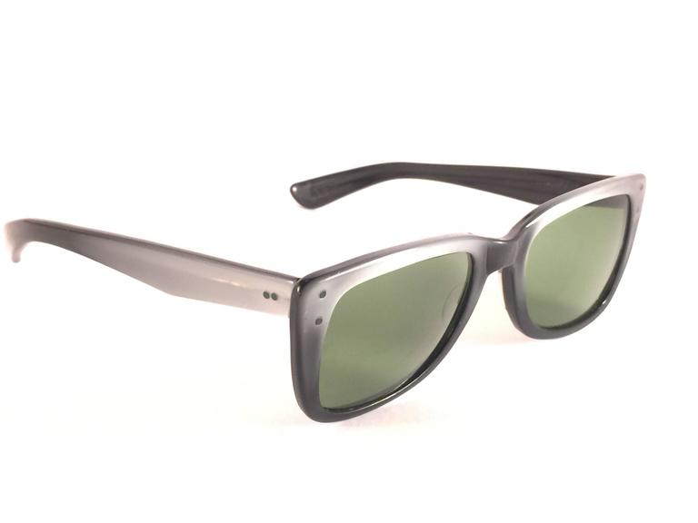 ff5ccf4ce95bf Super Rare 1960 s Caribbean two tone metallic grey with thinner and  elongated temples . Bausch and