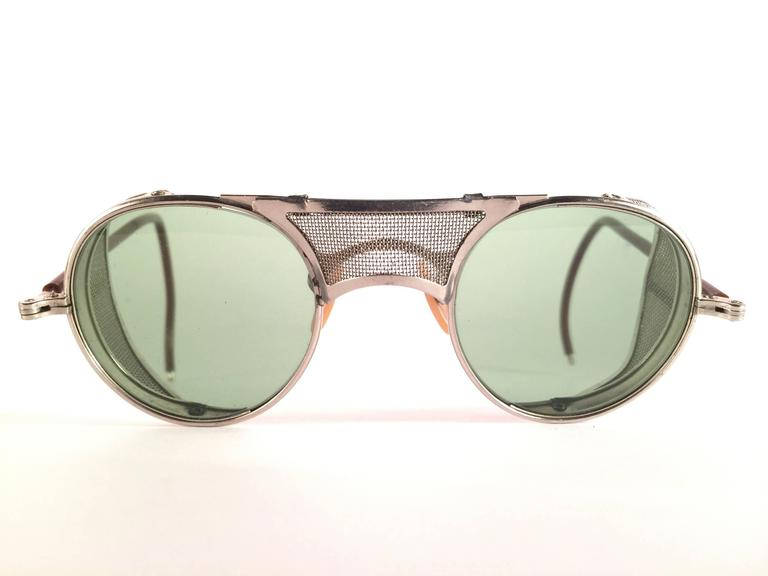 Gray New Vintage Bausch & Lomb Goggles Steampunk 1950's Collectors Item Sunglasses  For Sale