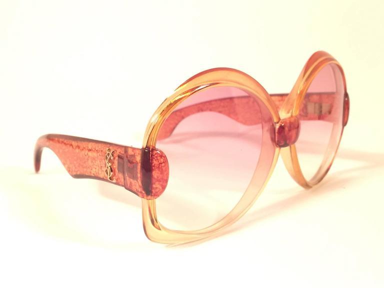 New Vintage Yves Saint Laurent YSL 651 Translucent Orange 1970 France Sunglasses 4
