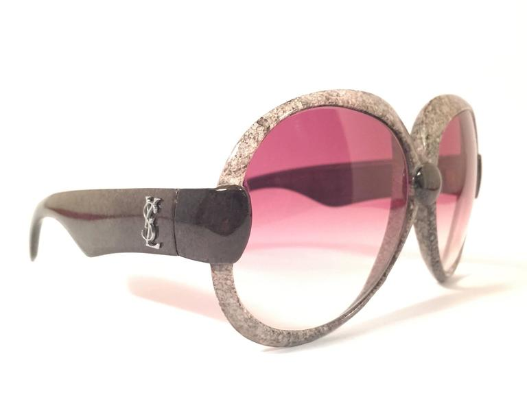 New Vintage Yves Saint Laurent YSL 643 Jaspe Black & Grey 1970 France Sunglasses 3