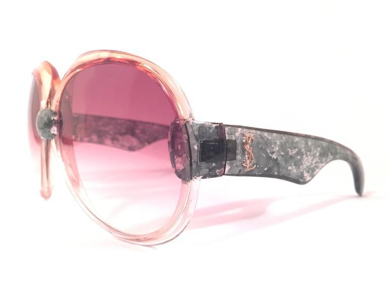 New Vintage Yves Saint Laurent YSL 543 Translucent Amber 1970 France Sunglasses  3
