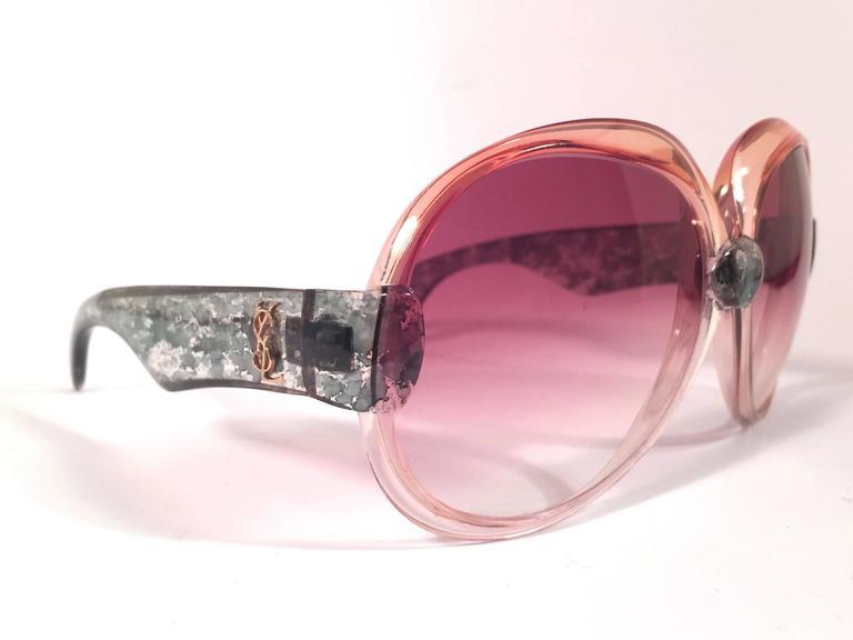 New Vintage Yves Saint Laurent YSL 543 Translucent Amber 1970 France Sunglasses  4