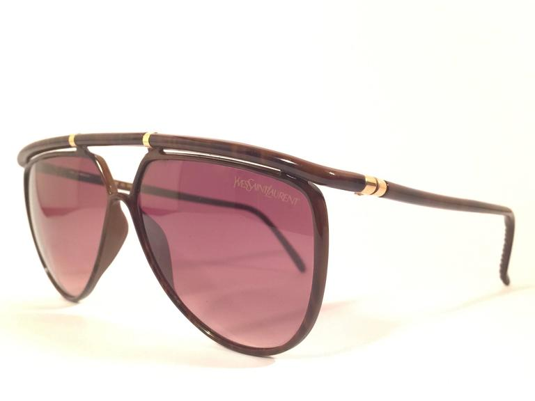 New Vintage Yves Saint Laurent 8633 YSL Jasped Brown 1980's Paris Sunglasses 4