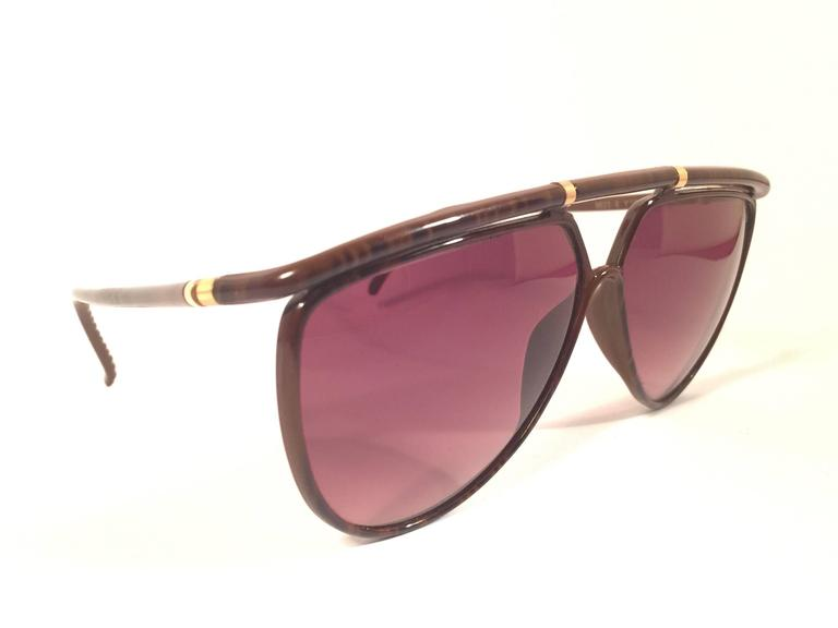 New Vintage Yves Saint Laurent 8633 YSL Jasped Brown 1980's Paris Sunglasses 3