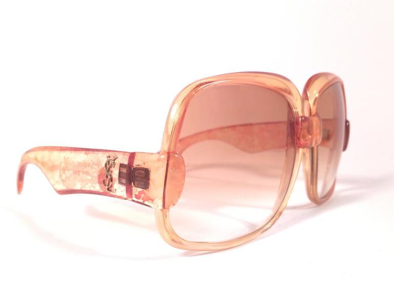 New Vintage Yves Saint Laurent YSL 545 Translucent Orange 1970 France Sunglasses 4