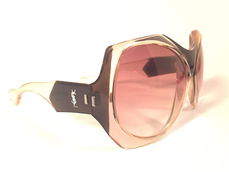 Orange  New Vintage Yves Saint Laurent YSL Mask Shield 1970 France Sunglasses For Sale