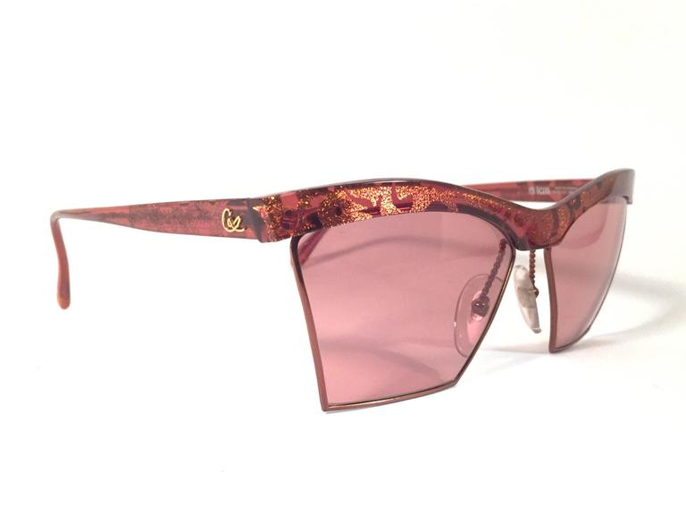 New Vintage Christian Lacroix Cat Eye 7315 Red & Gold 1980's France Sunglasses 2