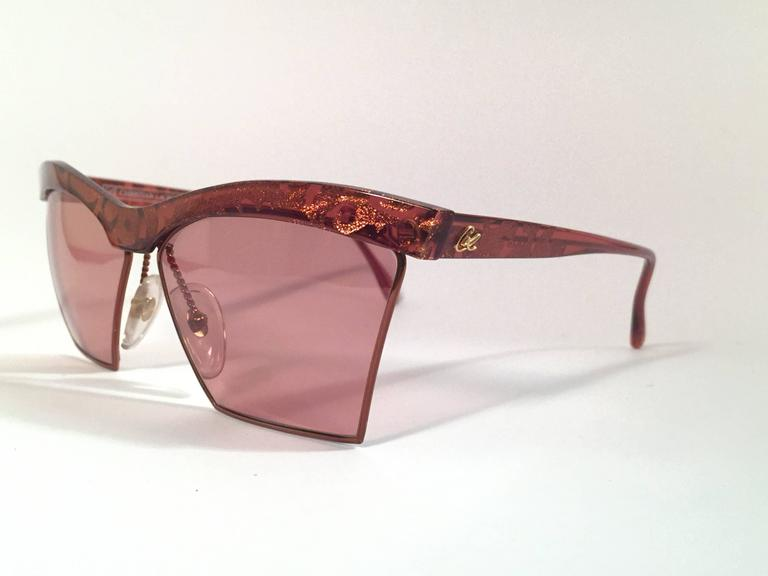New Vintage Christian Lacroix Cat Eye 7315 Red & Gold 1980's France Sunglasses 3