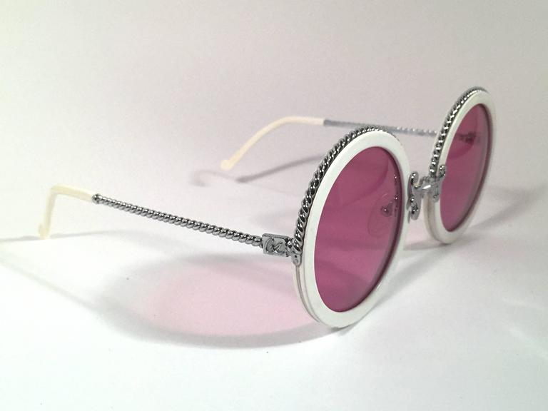 New Vintage Christian Lacroix Round White Silver Accents 1980 France Sunglasses 2