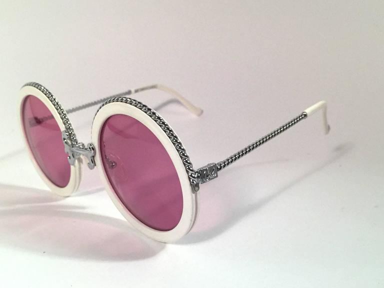 New Vintage Christian Lacroix Round White Silver Accents 1980 France Sunglasses 3