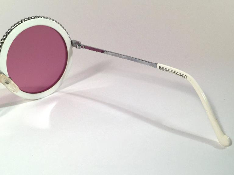 New Vintage Christian Lacroix Round White Silver Accents 1980 France Sunglasses 4