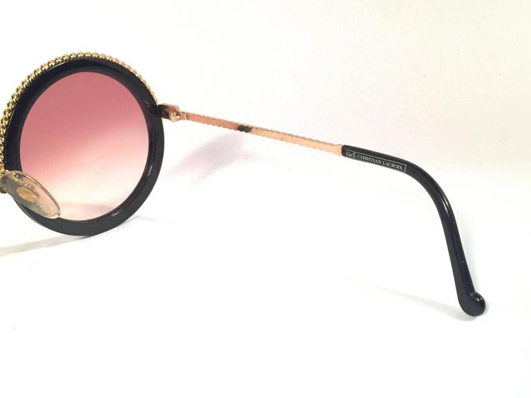 New Vintage Christian Lacroix Round Black Gold Accents 1980 France Sunglasses 4