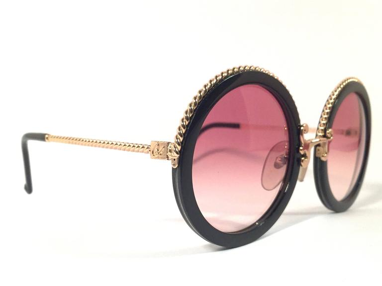 New Vintage Christian Lacroix Round Black Gold Accents 1980 France Sunglasses 2