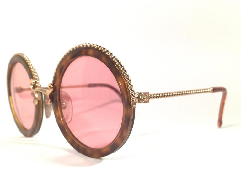 New Vintage Christian Lacroix Round Tortoise Gold Accents 1980 France Sunglass 3
