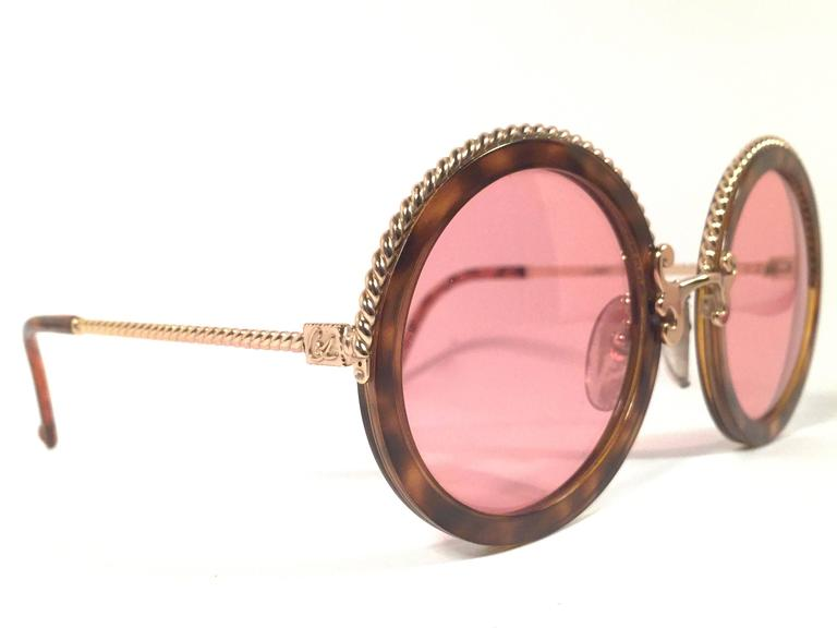 New Vintage Christian Lacroix Round Tortoise Gold Accents 1980 France Sunglass 2
