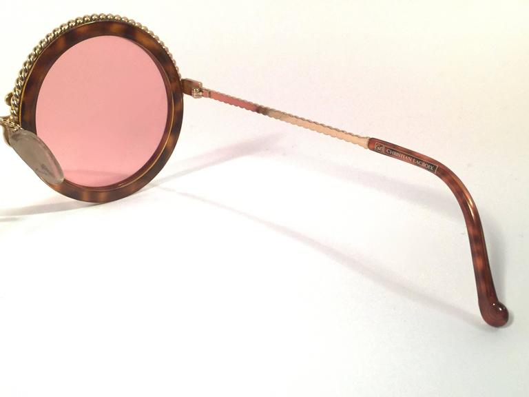 New Vintage Christian Lacroix Round Tortoise Gold Accents 1980 France Sunglass 4