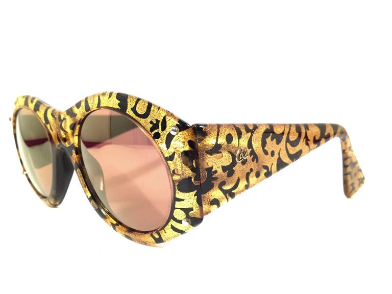 New Vintage Christian Lacroix Black & Gold Baroque 1980 France Sunglasses 3