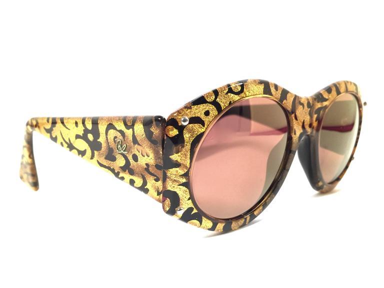 New Vintage Christian Lacroix Black & Gold Baroque 1980 France Sunglasses 2