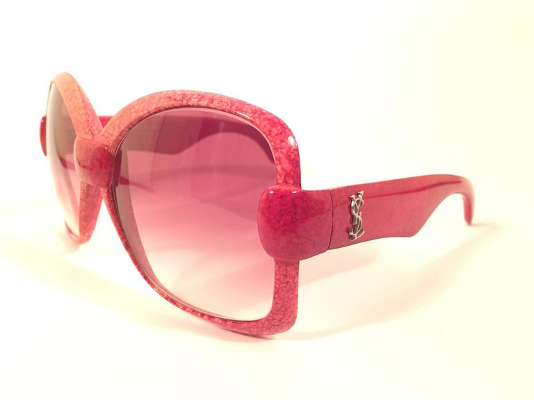 New Vintage Yves Saint Laurent YSL 541 Jasped Red 1970 France Sunglasses  4