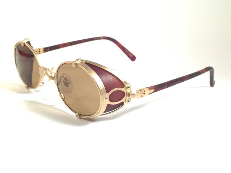 67620ee35db33 Brown New Vintage Matsuda 10610 Matte Gold Side Cups 1990 s Made in Japan  Sunglasses For Sale