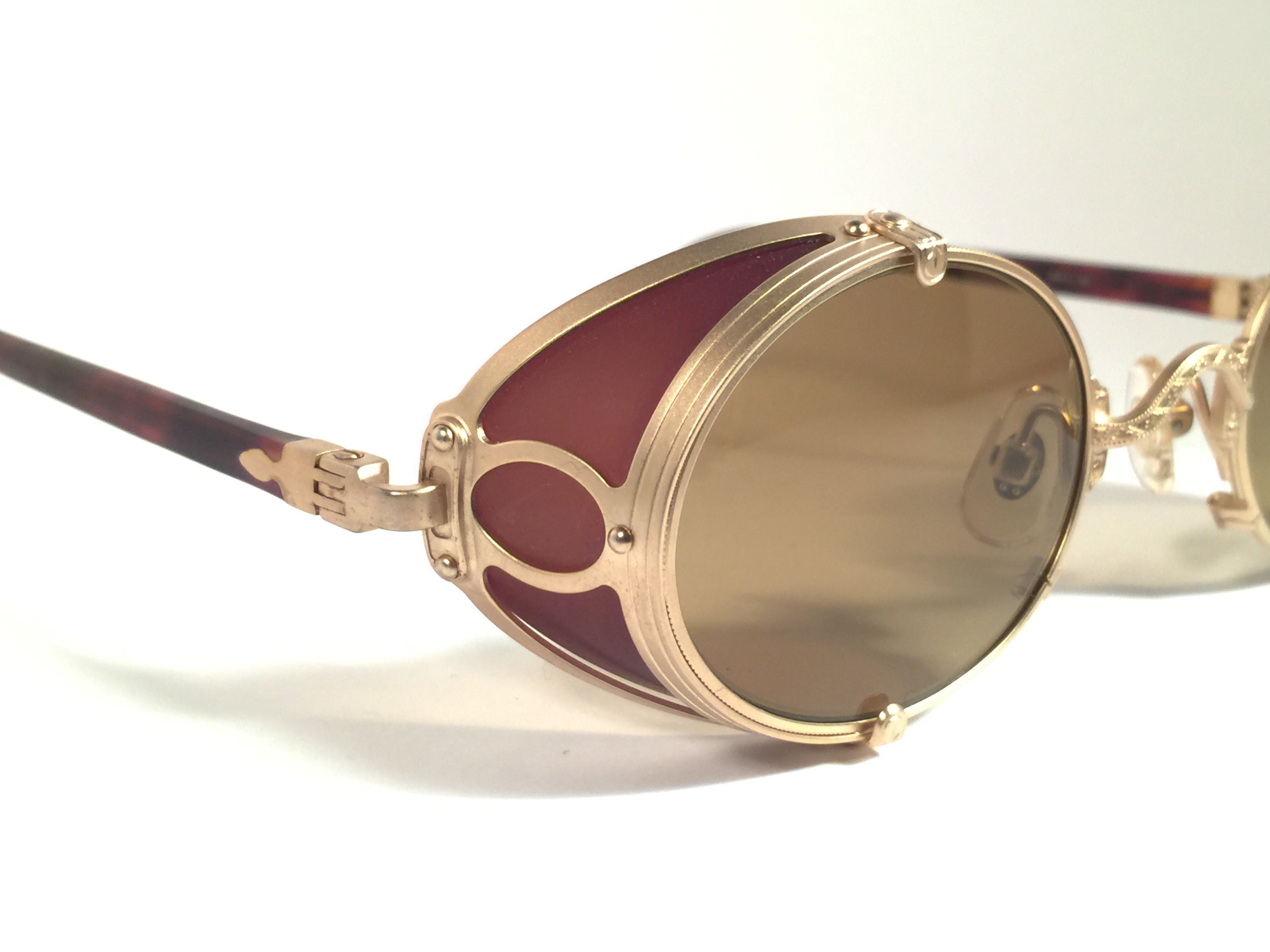 922cd318c28f1 New Vintage Matsuda 10610 Matte Gold Side Cups 1990 s Made in Japan  Sunglasses at 1stdibs