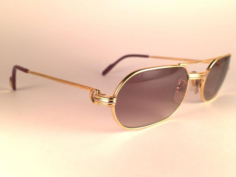 24b314993c22 Beige New Vintage Cartier Louis Vendome Medium 53mm France Sunglasses For  Sale