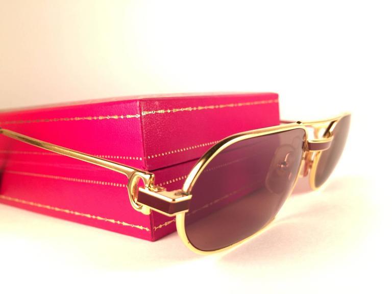 c11c6e104512 Women s or Men s New Vintage Cartier Louis Laque De Chine Medium 55mm France  Sunglasses For Sale