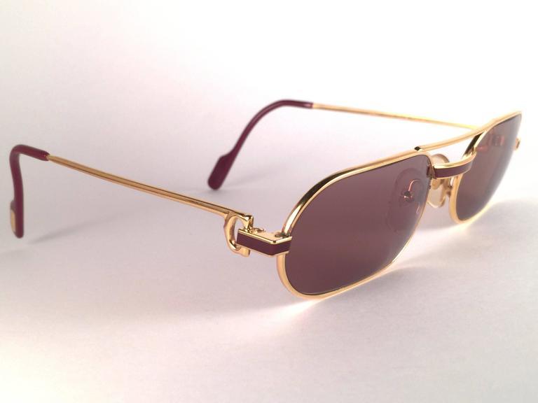 d2fe2a86579b Beige New Vintage Cartier Louis Laque De Chine Medium 55mm France Sunglasses  For Sale