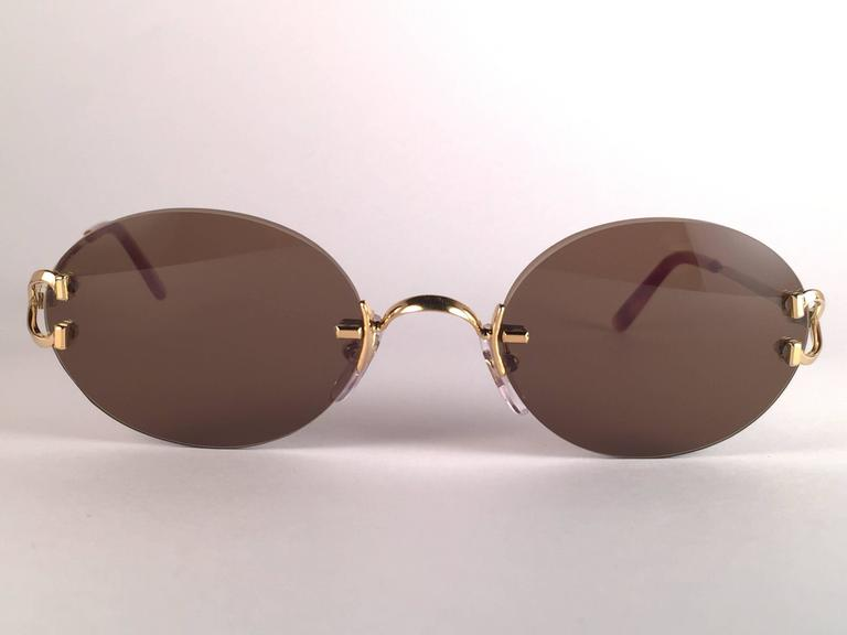 c2cfd6328eb6 Beige New Vintage Cartier Scala 45mm Gold Rimless Brown Lens Case France  Sunglasses For Sale