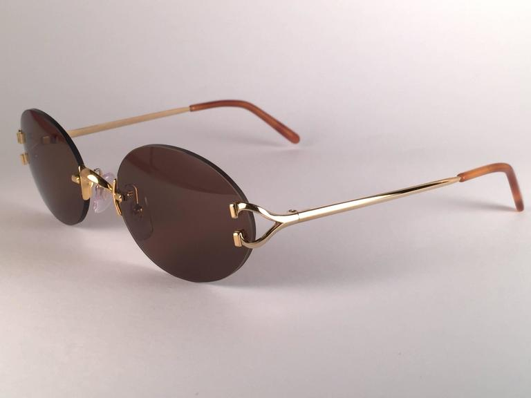 8266fee0f5fd Women s or Men s New Vintage Cartier Scala 45mm Gold Rimless Brown Lens  Case France Sunglasses For