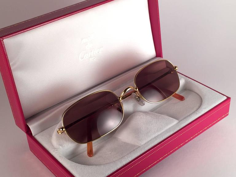 4aa8c59a5c7 Gray New Vintage Cartier Deimios Gold Plated Solid Brown Lens France 1990  Sunglasses For Sale