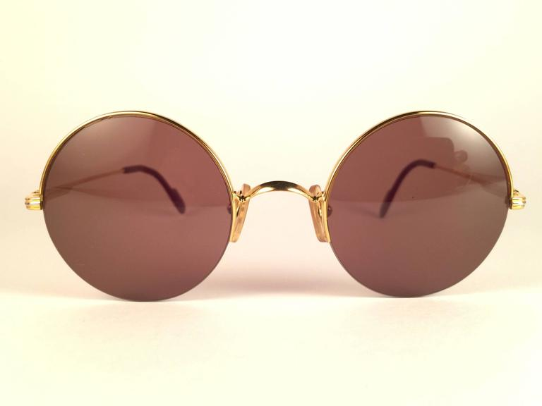 5570634a0 Women's or Men's New Cartier Mayfair Round Half Frame Gold 47mm Brown Lens  France Sunglasses For