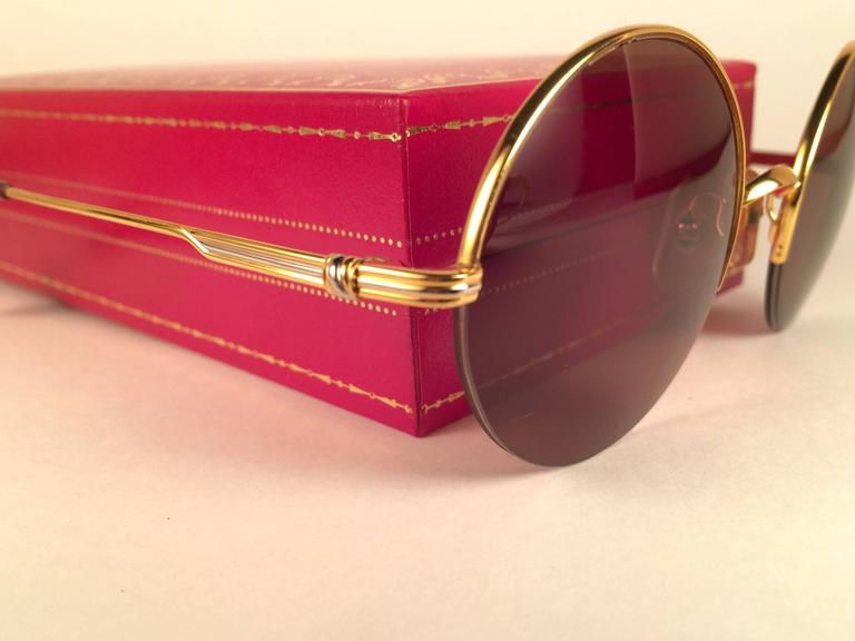 3cb0440301d9 New Cartier Mayfair Round Half Frame Gold 47mm Brown Lens France Sunglasses  For Sale 1