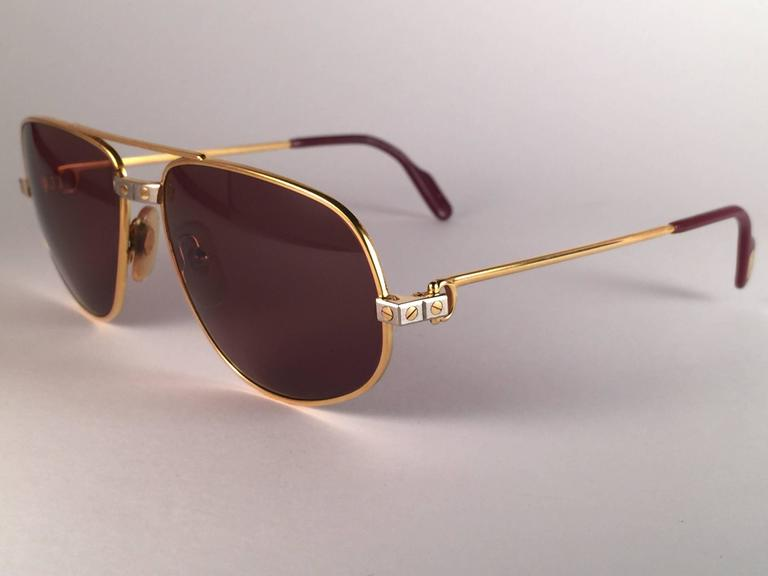 54a4ad25b08 New Vintage Cartier Romance Santos 54MM France 18k Gold Plated Sunglasses  In New Condition For Sale